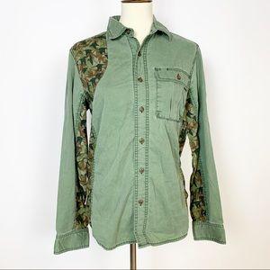 L.L. Bean   Camouflage Green Button Down Shirt